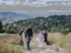 Montée en joëlette sur le sentier rocailleux de l\'auberge du Gazon du Faing à la crête du Forlet.