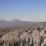 Forêt givrée de Retournemer et brouillard qui remonte la Moselotte