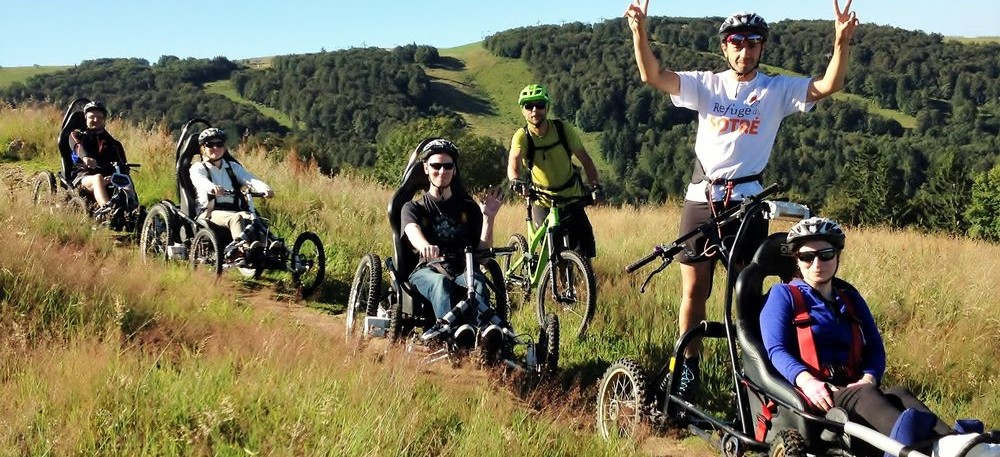 Randonnée, orientation, joëlette, fauteuil tout terrain CIMGO au Refuge du Sotré dans les Vosges !